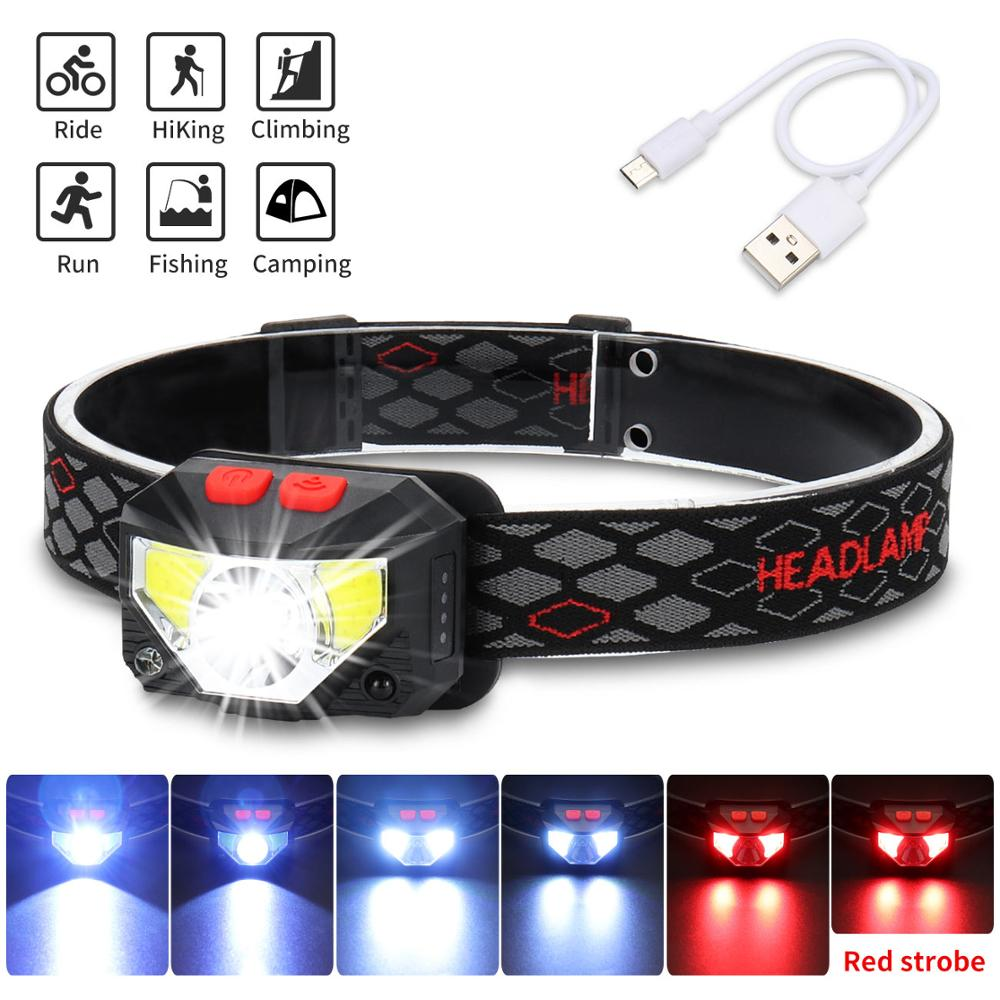6000LM Motion Sensor Inductive LED Headlight Headlamp Rechargeable Built In Battery Head Torch Lamp RED Fishing Light