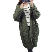 Criss-cross V-neck Long Knitted Cardigan Women 2017 Autumn Winter Thick Warm Knitwear Sweater Female Plus Size Loose Poncho Coat