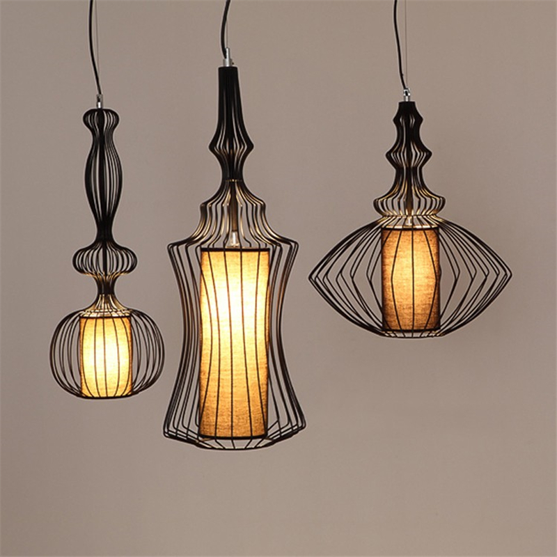 Lamps Design black/white 4pcs/set fabric metal iron loft modern pendant lamps