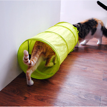 50cm Foldable Pet Cat Long Tunnels Collapsible Play Toys Kitten Tube With Crinkle Pure Color Polyester Cloth Tent Free Shipping