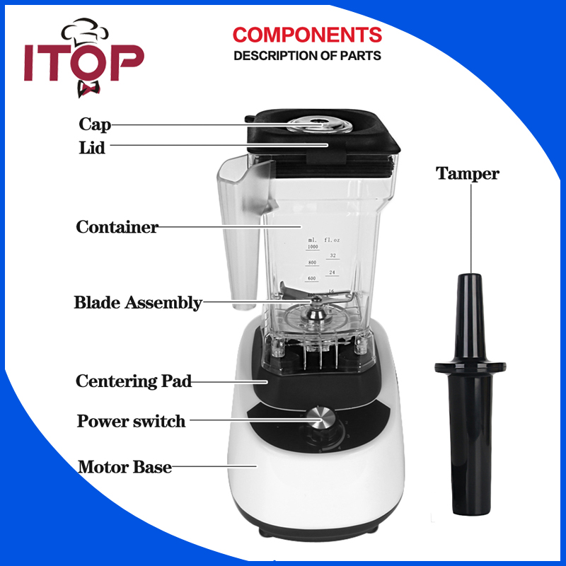 ITOP Electric Blender Household Fruit Juicer Vegetable Mixer Food Processor US/UK/EU Plug 110V/220V/240V commercial blender mixer juicer power food processor smoothie bar fruit electric blender ice crusher