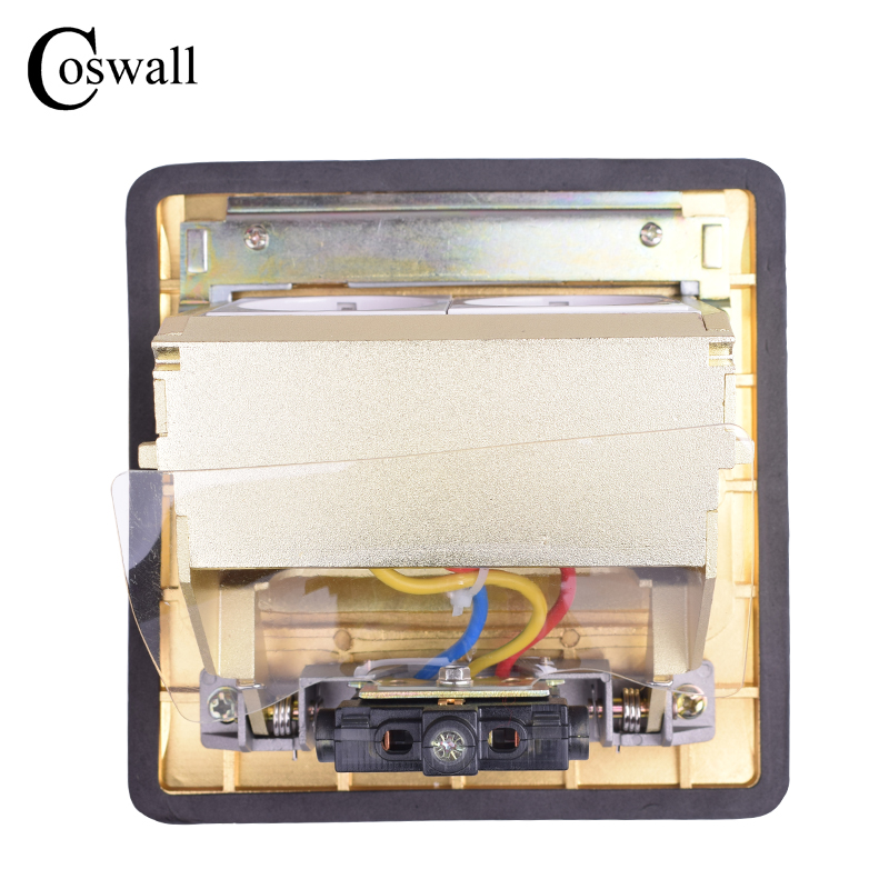 Coswall Pure Copper Thicken Panel 16A Russia Spain EU Standard Pop Up Floor Socket Double Power Electrical Outlet AC 110~250V