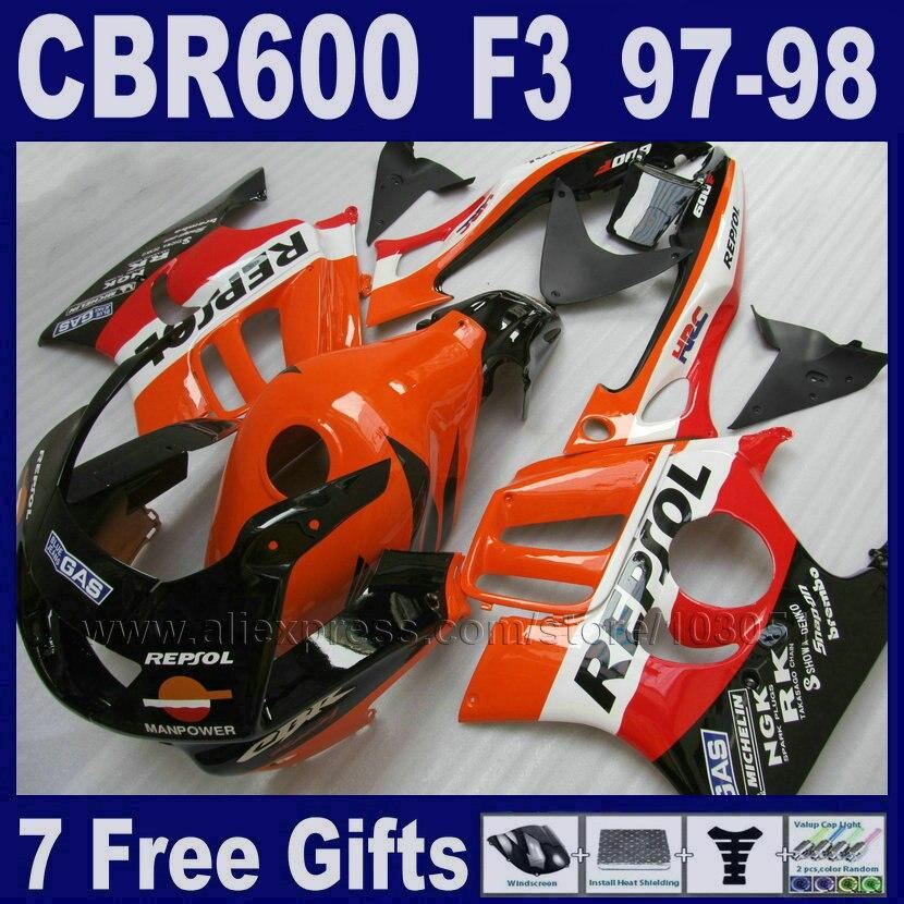 7 подарков Черный ABS обтекатели комплект для Honda CBR600 F3 97 98 1997 1998 Фабричный обтекатель части гонки оранжевый бак крышка