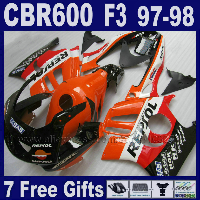 7gifts black ABS fairings kit for Honda CBR600 F3 97 98 1997 1998 factory fairing parts race orange Tank cover