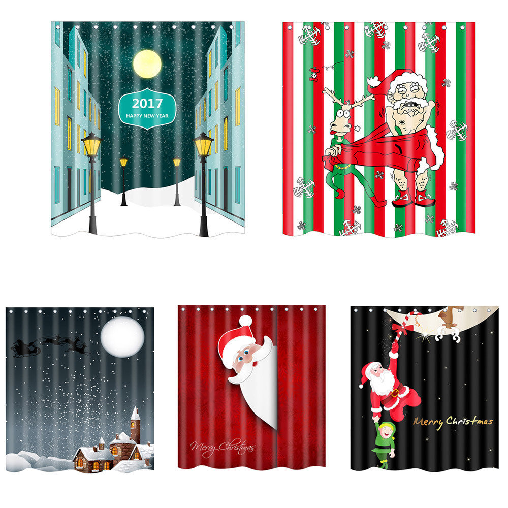 Bathroom window curtains waterproof - Christmas New Waterproof Polyester Bathroom Shower Curtain Decor With Hooks New Kind Beautiful High Quality On
