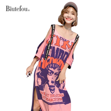 2019 Summer suspender hollow out long dresses cartoon print women chic slash neck dresses chic hollow out flower rhinestoned brooch for women