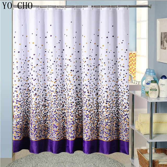 Image of: Purple And Green Shower Curtains Intended Aliexpresscom Polyester Fabric Bath Shower Curtain With Hooks High Quality Purple Colored Squares Bathing Waterproof Curtains For