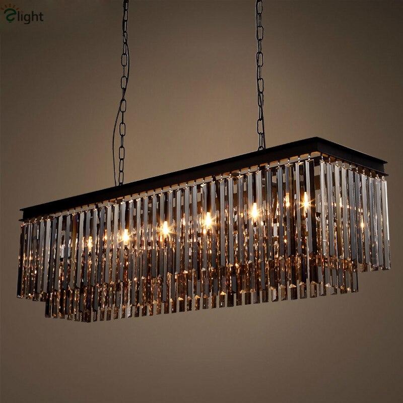 Vintage américain métal noir gris/ambre/cristal clair pendentif LED Lustre K9 cristal tubulaire 2 couches suspension