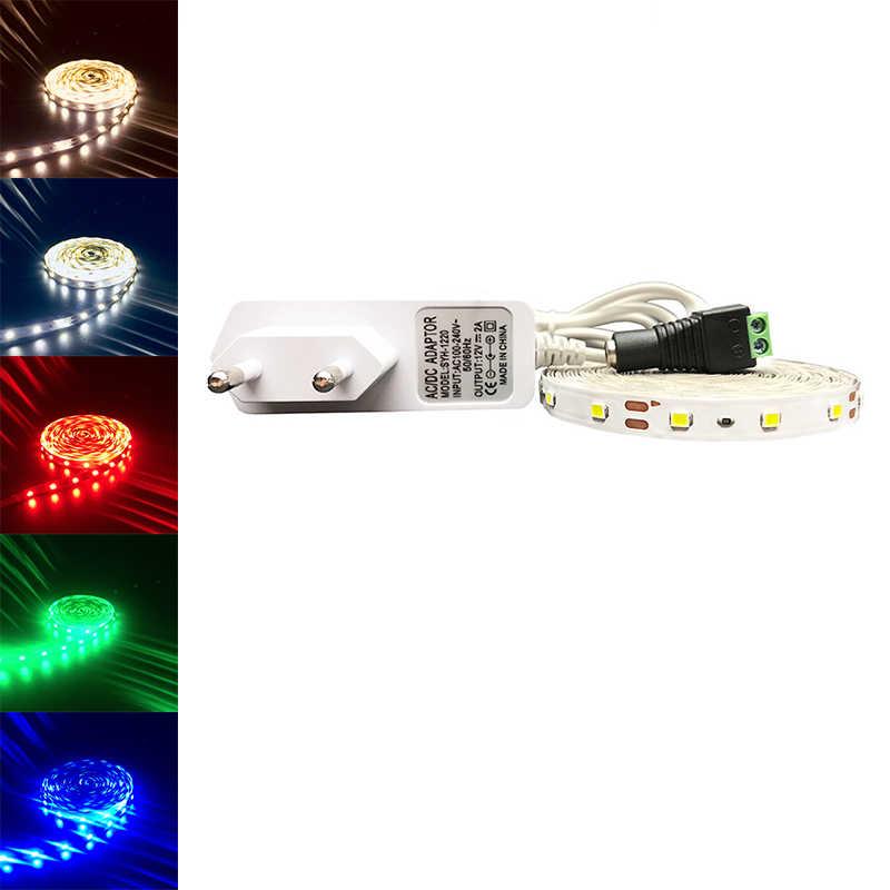 RGB LED de luz de tira de 2835 SMD 3528 5 M 60 Leds/m LED Flexible tira de cinta del controlador remoto IR 12 V 2A adaptador de corriente cinta LED