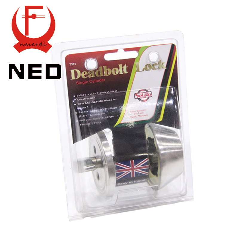 NED Single Cylinder Deadbolt Lock Solid Brass SS Handle Lock Grade3 Highest Security For Home Door Suitable For 35mm to 50mm free shipping european invisible black lever door prelude handle lock single cylinder deadbolt lock