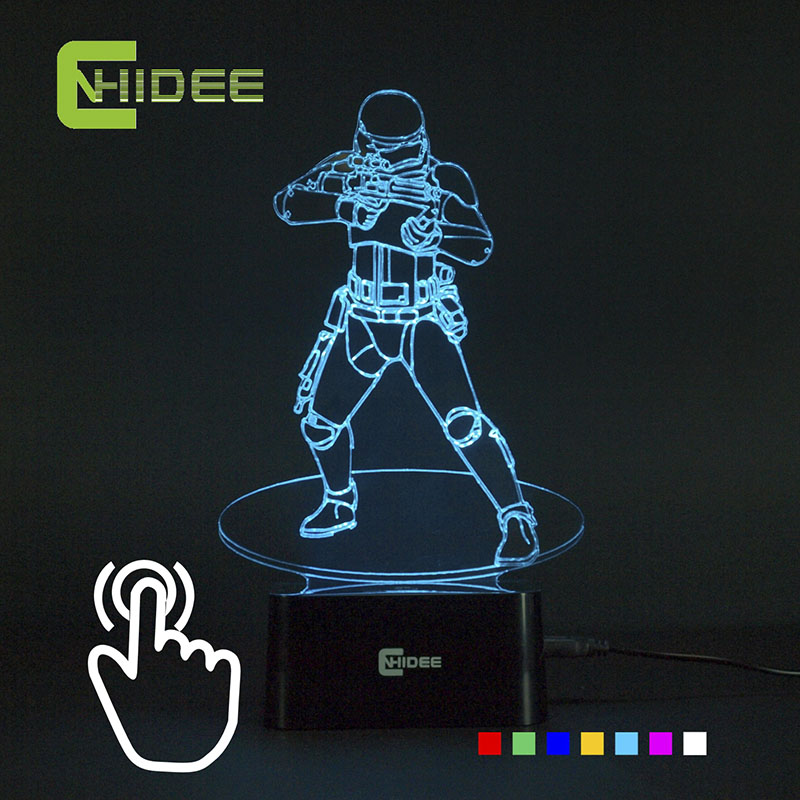 CNHIDEE Novelty USB 3D Night Lamp Stormtrooper Led Table Lampara as Home Decor Besides Luz Nocturna