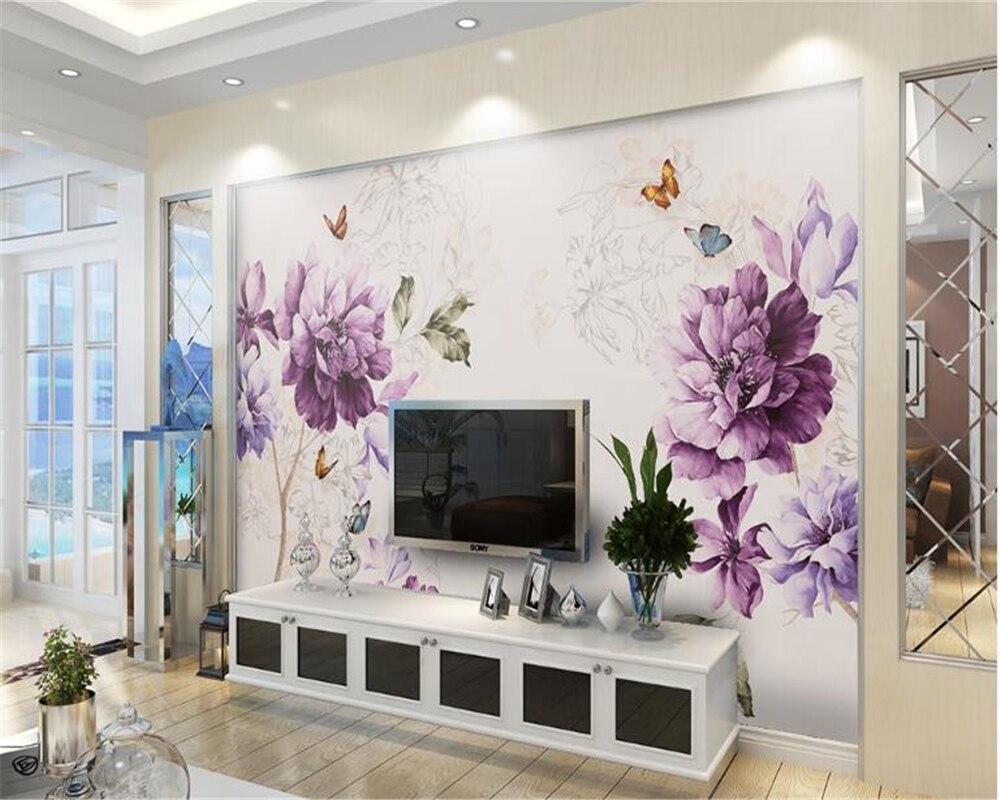 Beibehang Estetika Seni Cat Air Burung Ungu Sederhana Yang Modern 3D Wallpaper Dekorasi Rumah Sofa Latar