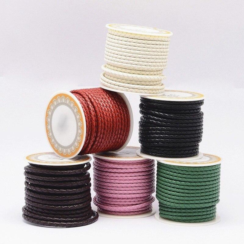 Pandahall 1 rolo preto redondo genuíno cabo de couro trançado corda para colar pulseira jóias diy 3mm 4mm 5mm 6mm