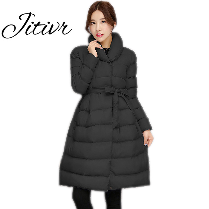 Jitivr Hot 2017 Stylish Women's Newest Long Thick Warm Jacket Fall and Winter Female Faddish Solid Hooded Coat with Waistband frank buytendijk dealing with dilemmas where business analytics fall short