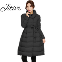 Jitivr Hot 2017 Stylish Women's Newest Long Thick Warm Jacket Fall and Winter Female Faddish Solid Hooded Coat with Waistband