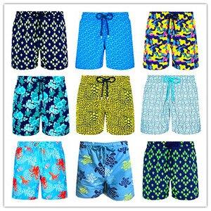 2019 Brand BREVILE PULLQUIN Beach Boardshorts Men Turtles Swimwear Bermuda Gay Sexy Swimtrunk Elastic Waist Sportswear Quick Dry