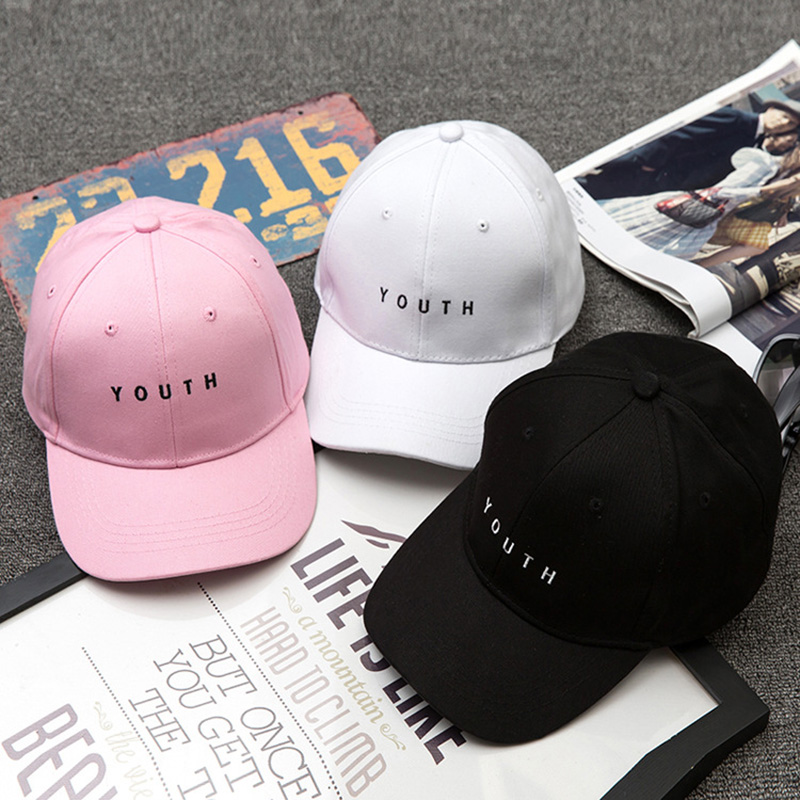 fa4b82e5aed youth letter embroidered caps lover men women baseball cap pure color snapback  hat black white sunhat