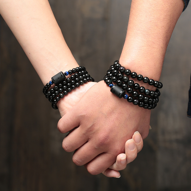 6mm 8mm Lover's Style Black Stone Obsidian Beads Bracelet Multilayer Transfer Luck Bracelet & Bangle Jewelry For Couple
