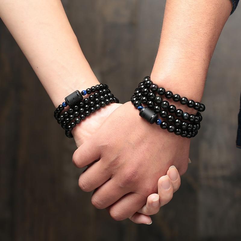 6mm 8mm amante Estilo negro piedra cuentas de obsidiana pulsera de múltiples capas transferencia suerte pulsera y joyería de brazalete para pareja