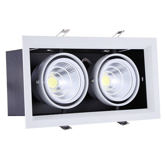 Free shipping double led grille light 2*15w led ceiling down light Warm Cold White 30W AR80 COB light two years warranty 85-265V free shipping ip20 2 13w cut out 262 124mm 40degree citizen cob led grille down light