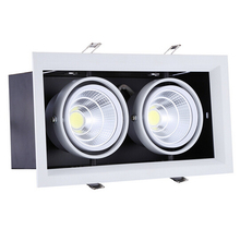Free shipping double led grille light 2*15w ceiling down Warm Cold White 30W AR80 COB two years warranty 85-265V