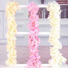 wisteria vine artificial hydrangea party wedding decoration silk garland flowers rattan DIY wreath