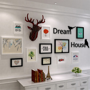 Wood Frame Ornament Picture Frames+Acrylic Letters+Bird+Reindeer Head Wall Decoration 11pcs Collage Photo Frame Set Para Parede