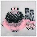 4 Unids por Juego Negro Polka Dots Baby Girls Manga Larga Tutu Dress con Banda de Sujeción Zapatos Polainas para 0-12months Envío Libre