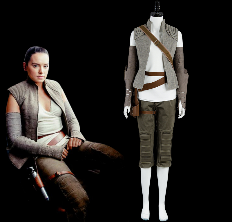 Star Wars 8 The Last Jedi Rey Cosplay Costume Halloween Carnival Costume Outfit full set
