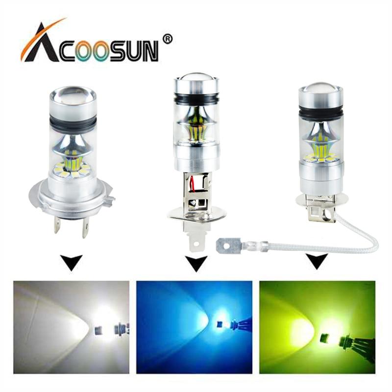 AcooSun H7 LED Car Fog Lamp H1 H3 H11 PSX24W 9005 HB3 9006 HB4 Led Voiture Bulb 12V 24V 1200Lm 6000K 8000K Auto Fog Light LED