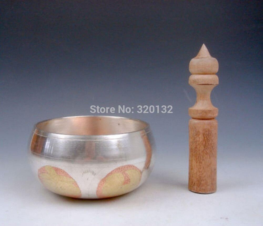 Cuivre En Laiton artisanat Népalais Tibétain En Cuivre Doré Chakra Singing Bowl Méditation Gongs 86mm Diamètre En Gros 2 pcs en laiton Bo