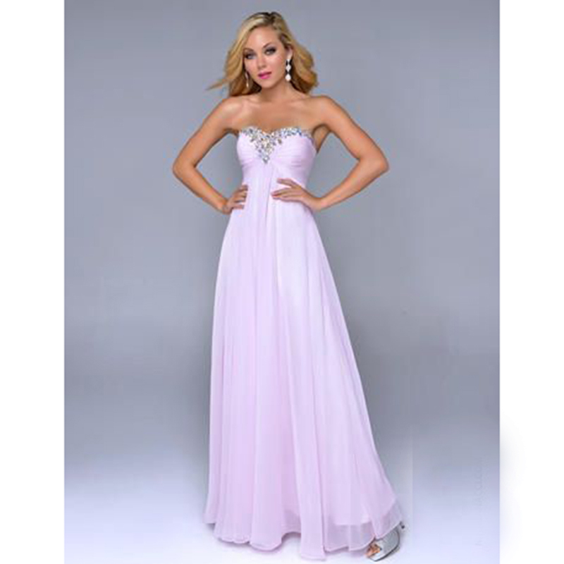 fashion lilac prom dresses long sweetheart beaded stones