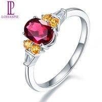 Lohaspie Natural Rhodolite Garnet Orange Garnet Solid 14K White Gold Trendy Engagement Ring Jewelry For Women