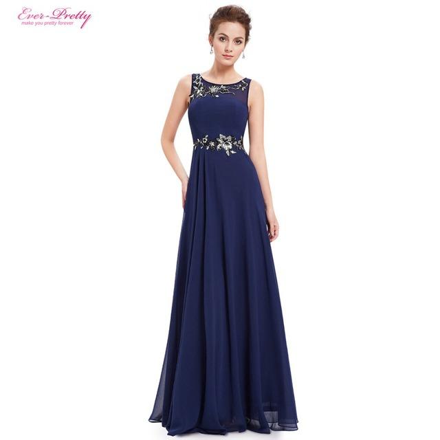 Mãe da Noiva Vestidos de Azul Marinho Mulheres Em Torno Do Pescoço Ever-Pretty Vestido longo 2017 Mãe da Noiva Dresse EP08531 navio Livre