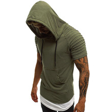 Mens T-shirt solid color stitching street striped cotton boys casual hooded short-sleeved dress