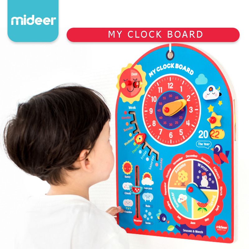 Mideer Baby Toy Wooden My Clock Board Hanging Board Children Cognitive Time Weather Season Education and Learning Toy Kids Gifts multifunctional cartoon wooden clock toy cognitive calendar season date children educational toy early learning puzzle toys