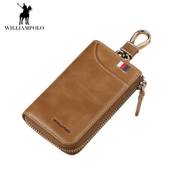WILLIAMPOLO 2018 Car Key Holder Wallet Fashion Small Zipper Key Holder For Car 2 Colors Genuine Leather Wallet for Men POLO309