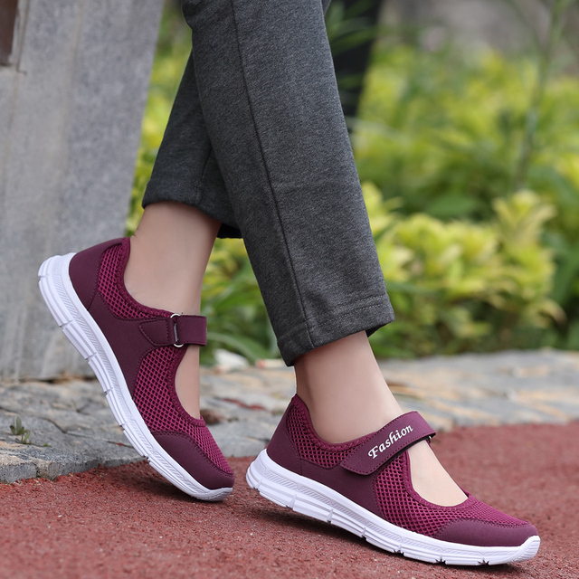 dc3d19d5edcb4 Summer Breathable Women Sneakers Walking Shoes Outdoor Mesh Sport Running  Shoes Old Ladies Comfortable Light Weight Sandal Flats