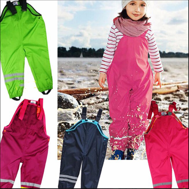 1-7Y Boys Girls Suspenders Beach Pants Children Rain Pants Waterproof Ski Pants Windproof Pants Baby Boys Girls Overalls Fashion