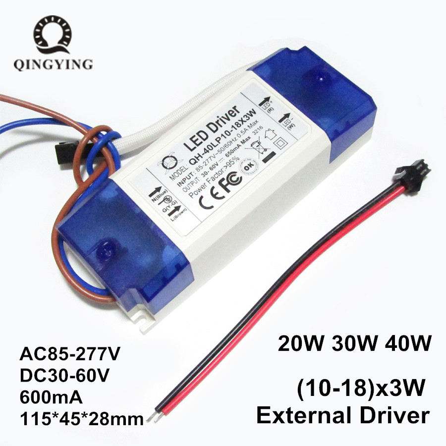1-2-5-10 Piezas 30W 40W LED Driver Fuente de alimentación 10-18x3W 600mA DC30-60V Transformadores de iluminación de corriente constante para Floodlight