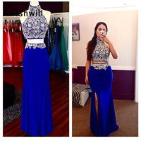 Backless Two Piece Prom Dress Mermaid Halter Stunning Beaded Floor Length African Royal Blue Long Formal Evening Party Dress