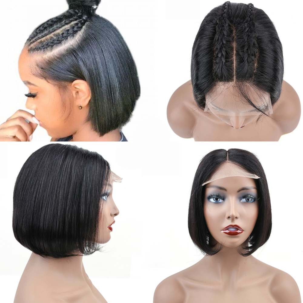 CH Human Hair Bob Wigs Brazilian Lace Front Human Hair Wigs For Black Women Non-Remy Silky Straight Lace Front Wig Closure wig