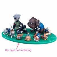 Anime Naruto Hatake Kakashi Ninja Dog 8cm PVC Action Figure Toy Doll Model Naruto Shippuden Kakashi Dogs 9pcs/set