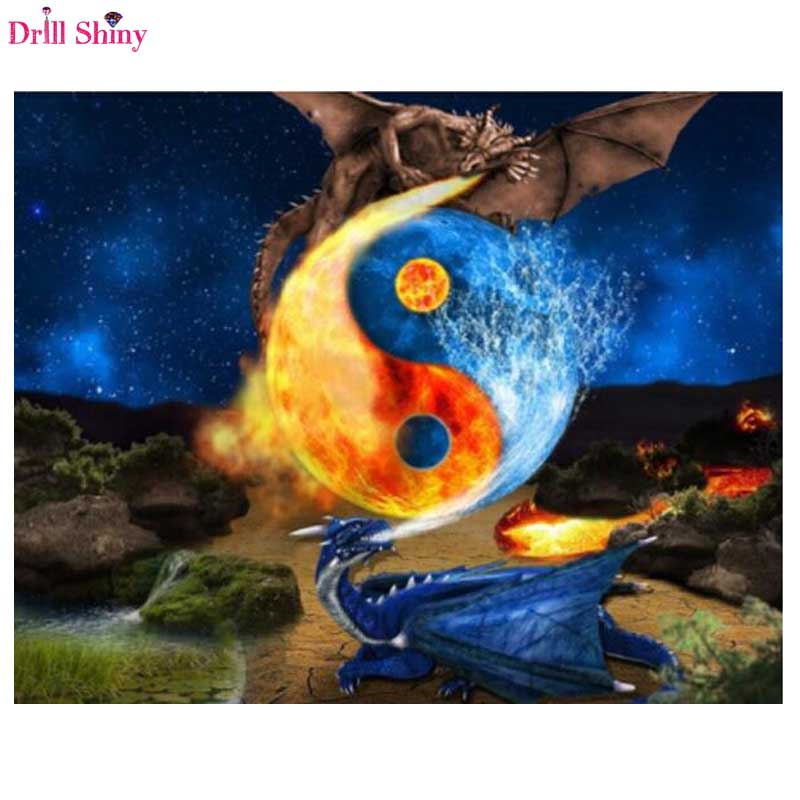 5D diy Diamond Cross Stitch, double dragon with Yin and yang. Diamond embroidered bag with mosaic, wall painting,picture,kits