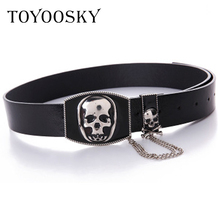 Punk Women Men Belts Chains Hip-pop Street Style PU Wide for Jeans Skull Pin Buckle High Quality Female TOYOOSKY