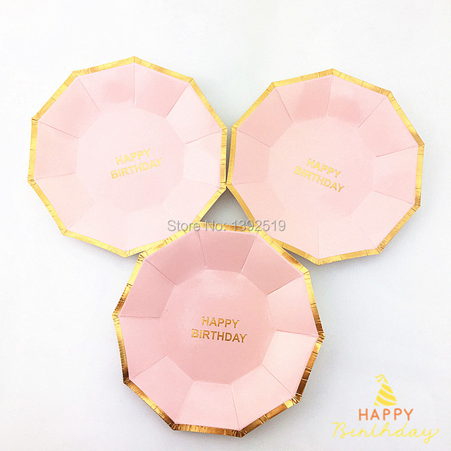 Free Shipping 80Pcs/Lot 7  Baby Pink Gold Paper Plates Small Dishes Party Plates & Free Shipping 80Pcs/Lot 7