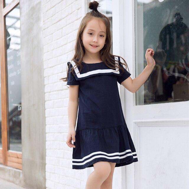 32783d6af0f15 Enfants robes pour les filles bleu col marin filles robes 2018 enfant filles  robe 10 à