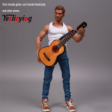 1/6 scale Log Songs Guitar Miniatura Display Folk Model Musical Collection for 12-inch body action figures guitar pickguard tool anonymous jagerlied german folk songs