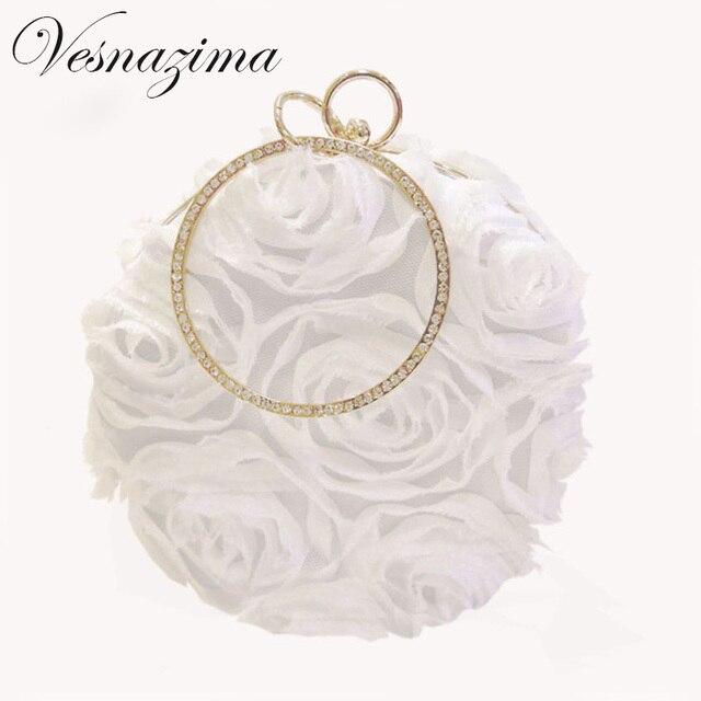 Vz White Fl Wedding Bag For Bride Beige Evening Bags Bridesmades Clutches Round Las