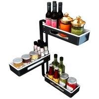 Kitchen Shelf Corner Rotation Spice Rack Multi purpose Storage Rack Space Home Storage Collection Appliances